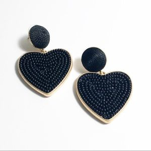 J. Crew Black Beaded Heart Drop Earrings
